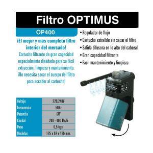 Filtro Interior para Acuarios Optimus 400 de ICA